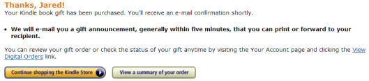 Amazon eBook Gift has been purchased